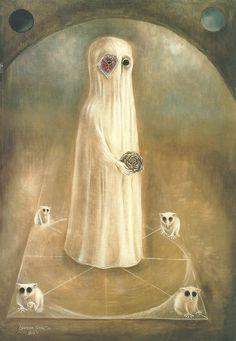 """英國超現實女畫家李歐諾拉.卡靈頓Leonora Carrington. """"The Ancestor"""". 1968."""