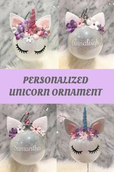 I am absolutely obsessed with this UNICORN ORNAMENT! Unicorn Ornament Felt Ball, Flower Crown, #Holiday Tree #Decoration, Baby's First Cute Girly Decoration, #Whimsical #Christmas #afflnk