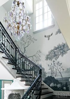 Gorgeous wallcovering + Baccarat chandelier in the stairway at the 2013 Decorator's Show House & Gardens by The Mercantile. (Atlanta Style Now Atlanta Homes & Lifestyles. Decor, Beautiful Wallpapers, Atlanta Homes, Mural, Wall Coverings, Stairways, Mural Wallpaper, Wall Murals Painted, Grisaille