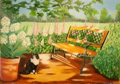 Cat in A Garden Oil Painting 36 X 48 inches original artwork Mural Painting, Large Painting, Original Paintings For Sale, Original Artwork, Outdoor Cats, Outdoor Decor, Vintage Artwork, Art For Sale, Sale Items