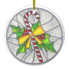 Candy Cane & Holly Stained Glass Look Christmas Ornament