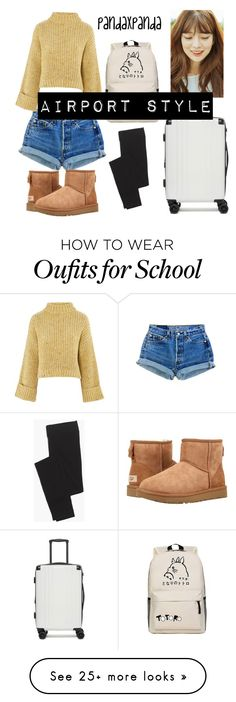 """""""airport fashion style"""" by pandaxpanda on Polyvore featuring Topshop, UGG, Madewell, WithChic, CalPak and airportstyle"""