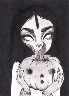 Day 6 inktober Pumpkins by mayraisabel on Etsy Dark Art Drawings, Art Drawings Sketches, Cool Drawings, Desenhos Tim Burton, Arte Peculiar, Arte Obscura, Creepy Art, Art Reference Poses, Halloween Art
