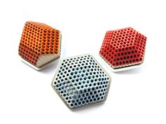 Elizabeth Jane Campbell Lapel Pins 2013 Silver, ceramic honeycomb, vitreous enamel W:3.2cm D:3cm £65 each - ALL SOLD commissions welcome