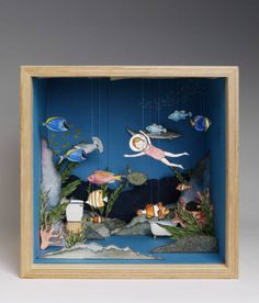 Get Your Tiny Things Fix Here: These Diorama Dream Homes Are Everything - - These miniature rooms, created by 20 London-area designers, are now on display at the Victoria & Albert Museum. Shadow Box Kunst, Shadow Box Art, Diy And Crafts, Crafts For Kids, Arts And Crafts, Paper Crafts, Museum Of Childhood, V & A Museum, Matchbox Art