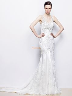 V-Ausschnitt Spitze Reißverschluss Brautkleider 2014