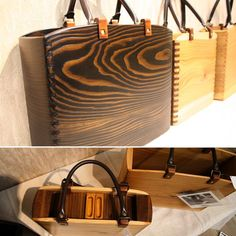 Unique Handbags, Purses And Handbags, Types Of Purses, Intarsia Wood, Wooden Bag, Paper Crafts Origami, Work Bags, Leather Accessories, Leather Working