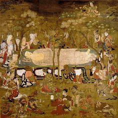 Buddha's Nirvana hanging scroll (絹本著色仏涅槃図), Heian period, located at Kongobu-ji Thangka Painting, Buddha Painting, Japanese Buddhism, Japanese Art, Nirvana Buddhism, Buddha Life, Buddhist Art, Gold Art, Mandalas