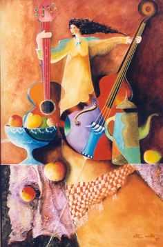A sample of my Cousin's art work.  Jairo Ortiz Acosta, a Colombian painter and musician.