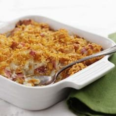 Cheesy Potato Casserole Recipe (Low cal with laughing cow cheese and crushed corn flakes)