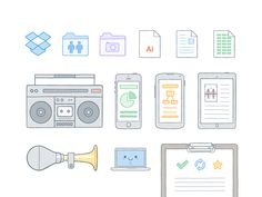 Making some illustration updates. Some of the icons are based on Morgan's awesome icons http://dribbble.com/shots/1437544-Dropbox-File-Icons