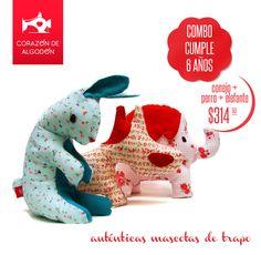 Podes armar tu combo de 3 muñecos eligiendo las mascotas que más te gusten. Empezá a chusmear que tan lindos estampados hay y comenza a llenar tu carrito de ternura http://tienda.corazondealgodon.com