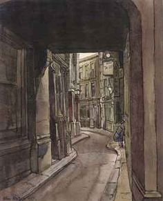 John Minton: 'Ludgate Square', 1955 (ink and watercolour) John Minton, London Painting, Study Board, Cat Hacks, Perspective Art, British Artists, Irish Art, Royal College Of Art, Urban Sketchers