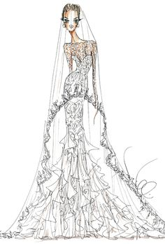 Wedding dress sketch for Angelina Jolie | Theia | brides.com