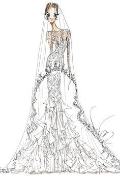 Wedding dress sketch for Angelina Jolie | Theia | brides.com