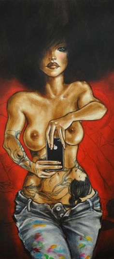 #Selfie Mimi Yoon. I don't like the phone, but love the depiction of the woman with her tattoos and hair