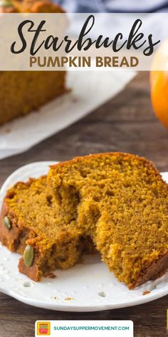 Our Easy Starbucks Pumpkin Bread Recipe is always a favorite! Just one bite of this moist pumpkin bread and you will want to make your own Easy Pumpkin Bread Recipe at home all of the time! Pumpkin Recipes Easy Quick, Best Pumpkin Bread Recipe, Starbucks Pumpkin Bread, Healthy Pumpkin Bread, Pumpkin Loaf, Easy Pumkin Bread, Cheese Pumpkin, Vegan Pumpkin, Pumpkin Spice