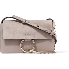 Chloé Faye small leather and suede shoulder bag (4,745 SAR) ❤ liked on Polyvore featuring bags, handbags, shoulder bags, grey, leather cross body purse, chloe crossbody, crossbody handbags, grey leather handbags and shoulder strap bags