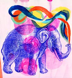 Elephant by Belicta Castelbarco. Purchase this print at www.thelittlestmammoth.com
