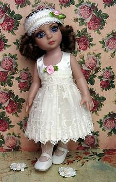 """Vanilla and Lace A Dress Matching Hairband for Patsy Ann Estelle 10""""Dolls   eBay. Ends 2/3/14"""