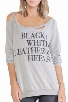 Stylish Scoop Neck Long Sleeve Letter Print Hollow Out Women's SweatshirtSweatshirts & Hoodies