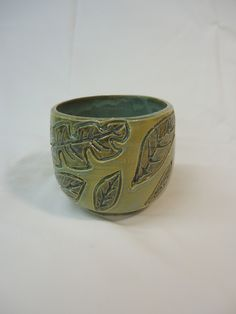 Leaves bowl - thrown and carved - Michael MacDonald 2013