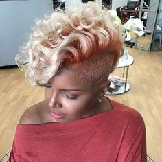 Best Ideas For Short Haircuts : Edgy cut and color by Pekela Riley – blackhairinformat… Best Short Haircuts, Cute Hairstyles For Short Hair, Short Hair Cuts, Curly Hair Styles, Natural Hair Styles, Curly Mohawk Hairstyles, Teen Hairstyles, Casual Hairstyles, Pixie Haircuts
