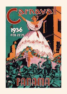 PANAMA TRAVEL POSTER Art Deco Travel Poster by EncorePrintSociety