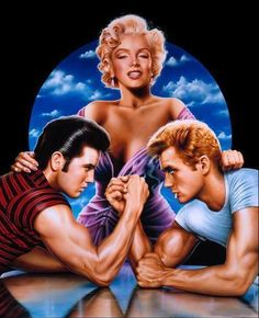 ❤Marilyn Monroe Art ~*❥*~❤ the legend james dean and elvis presley  with (the one the only.... marilyn monroe)