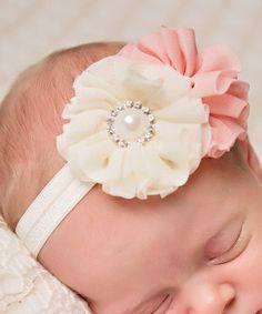 Salmon & Ivory Vintage Flower Headband - Infant by Bits N Baubles BeBe #zulily #zulilyfinds