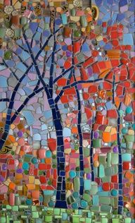 """""""Autumn in the HIlls"""" mosaic by Michael Sweere Mosaic Company. Glass, stone & ceramic tile with buttons & beads Mosaic Tile Art, Mosaic Artwork, Mosaic Crafts, Mosaic Projects, Mosaic Glass, Glass Art, Stained Glass, Mosaic Mirrors, Sea Glass"""