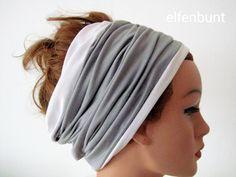 Wendehaarband LILLY  grau/weiß Stirnband von  Maria Elfenbunt auf DaWanda.com