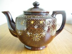 Vintage Redware Teapot Colorful Moriage by GotMilkGlassAndMore, $9.95