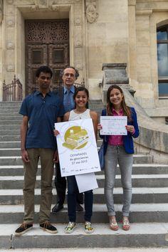 Les lauréats avec Dominique Rojat, Président du jury et inspecteur général de l'éducation nationale de sciences de la vie et de la Terre - Photo SAAMD2