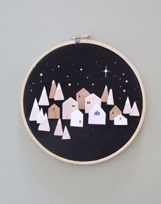 Items similar to The North Star - tiny wooden houses on linen hoop art on Etsy Christmas Embroidery, Diy Embroidery, Diy Christmas Village, Christmas Crafts, Small Wooden House, Wooden Houses, Arts And Crafts, Diy Crafts, Christian Christmas