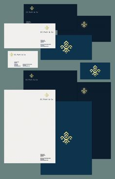Logo and Brand Identity by VERG (Matt Vergotis) For a private equity firm. The client requested to see a stylised version of a Fleur De Lis. Logo Design, Letterhead Design, Graphic Design Branding, Design Packaging, Corporate Identity Design, Brand Identity Design, Visual Identity, Stationary Branding, Branding Ideas