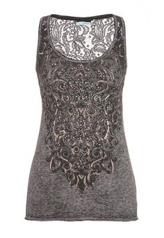 graphic tank with lace, studs, and rhinestones (original price, $34) available at #Maurices