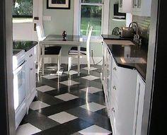 Decoração e Projetos – Cozinha com piso xadrez – Decoração, fotos