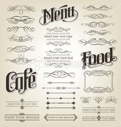 Decorative menu vintage calligraphy set Royalty Free Stock Vector Art Illustration