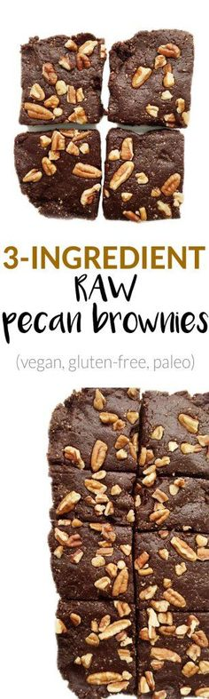 3-ingredeint Raw Pecan Brownies. Vegan, grain-free and SO delicious. They are super fudgey brownies that everyone will love!
