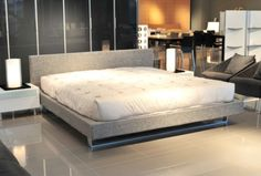 Light grey upholstered bed Grey Upholstered Bed, Bed Parts, Bed Lights, Cool Beds, Bedroom Furniture, Mattress, Cool Stuff, Bedroom Ideas, Home Decor