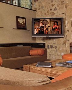 TV mounted near the corner.  |Corner TV Installations by The Integrated Lifestyle, via Flickr