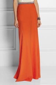 Saloni Vanessa embellished satin-crepe maxi skirt