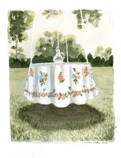 Tisch im Freien, Aquarell Illustrations, Outdoor Tables, Watercolor, Illustration, Illustrators, Drawings