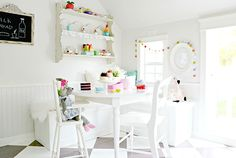 Playhouse Interior Designed by Tiny Little Pads. For more on this Farmhouse Playhouse go to the Blog over at www.tinylittlepads.com #tinylittlepads @tinylittlepads