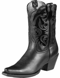 """Ariat Black Shada 10"""" Shaft Western Boots For Ladies 10006753"""
