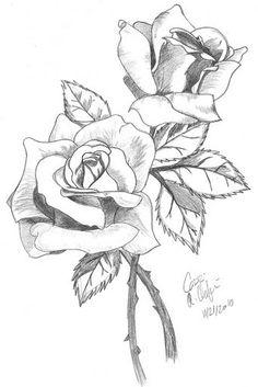 Easy Pencil Drawings, Pencil Drawings Of Flowers, Flower Sketches, Drawing Flowers, Pencil Art, Rose Drawing Pencil, Plant Sketches, Drawing Sketches, Art Drawings