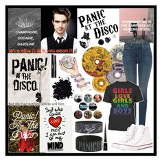 """Panic! at the Disco"" by fandoms-obsessed ❤ liked on Polyvore featuring Hot Topic, Ødd., NYDJ, Converse, Christian Louboutin and Chanel"
