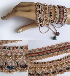 Ideas Crochet Lace Bracelet Armband For 2019 Crochet Beaded Bracelets, Lace Bracelet, Lace Necklace, Bead Crochet, Crochet Lace, Beaded Jewelry, Cuff Bracelets, Crochet Necklace, Handmade Jewelry
