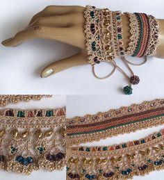 Free shipping.Beaded crochet bracelet cuff.100% by Emeliebeads